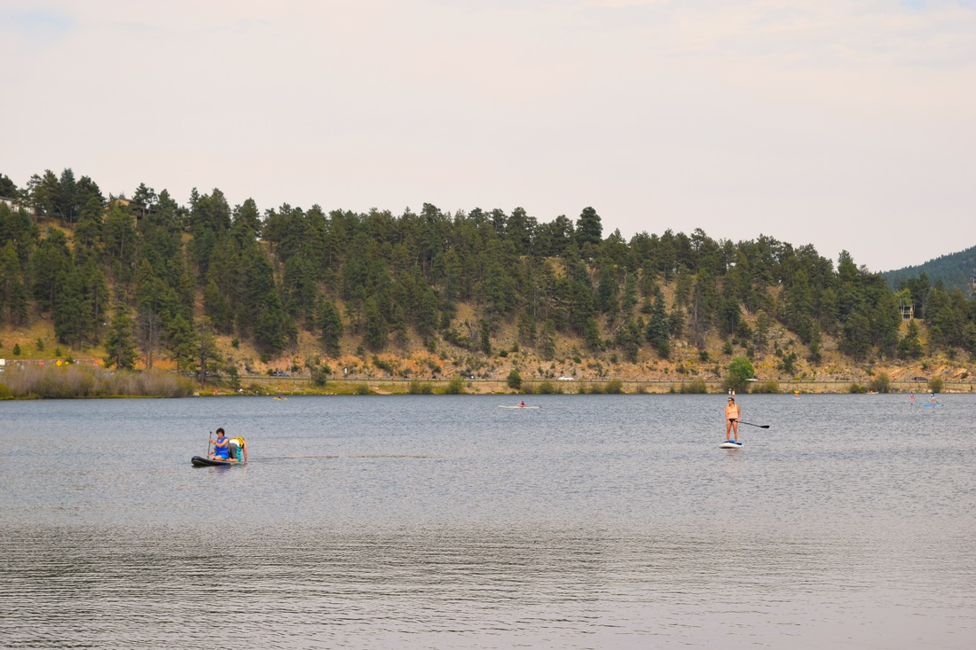 Paddling boarding on Evergreen Lake